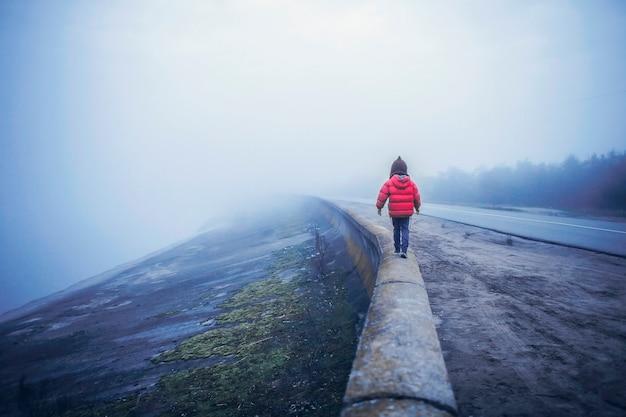 봄 안개가 자욱한 날, 불확실성과 기대 개념에 도로에 혼자 걷는 소녀