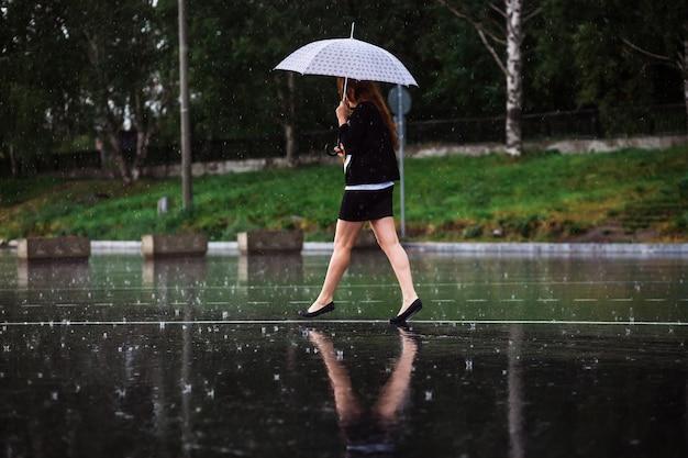 雨の中傘をさして歩く女の子