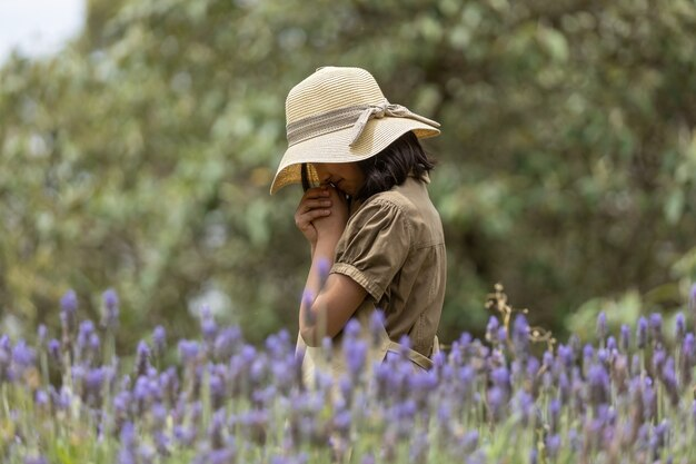 Girl walking on lavender field