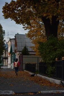 女の子は秋に街を歩きます