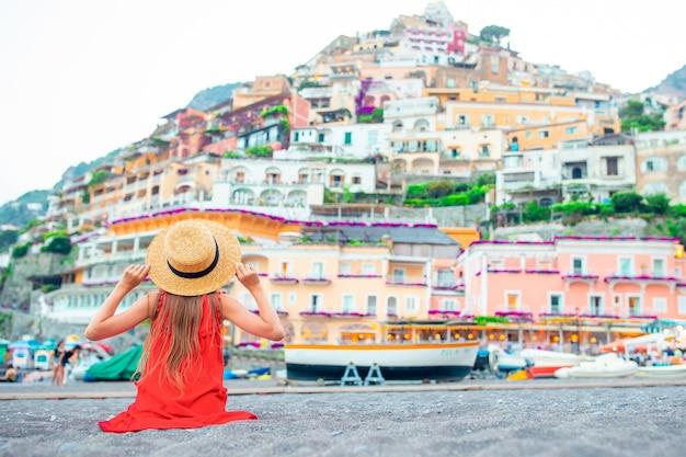 Girl on warm summer day in positano