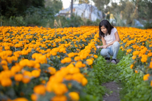 Girl watching and smiling at cempasuchil flowers on the field