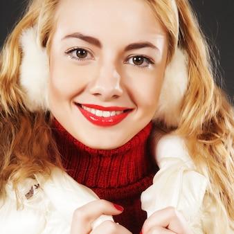 Girl wearing warm winter clothing