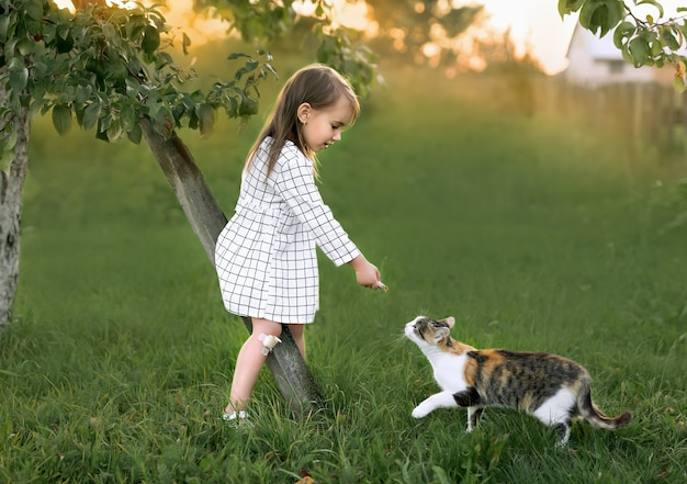 A girl in a white dress feeds a cat in the garden.