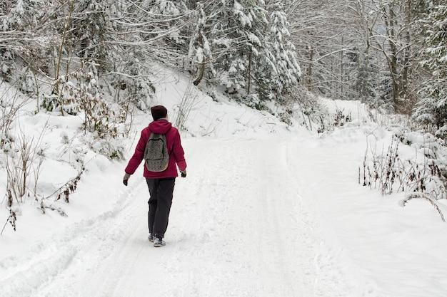 雪に覆われた森の道を歩いているバックパックを持つ少女。