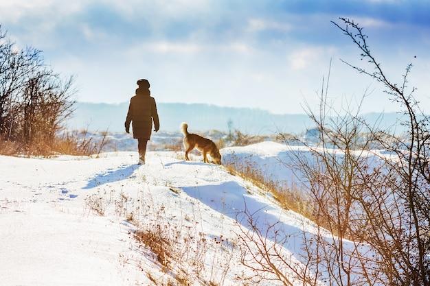 冬の森の中を散歩中に犬と一緒に女の子_