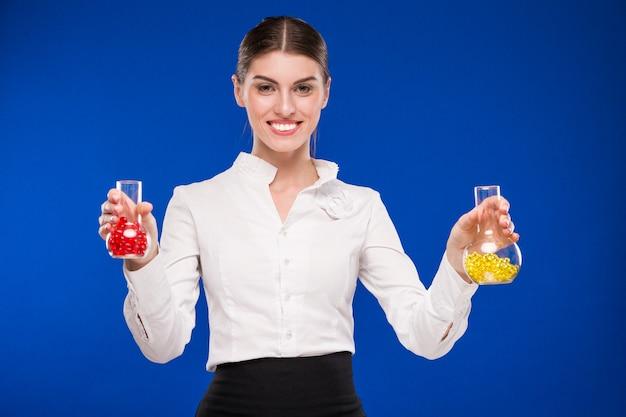 Girl with beakers