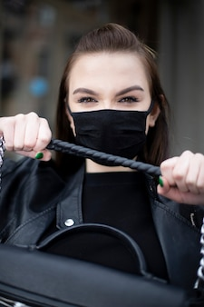 Girl with a black mask