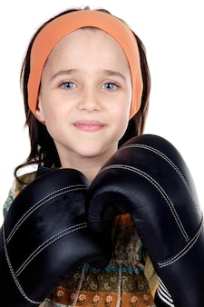 Girl with boxing gloves isolated on white