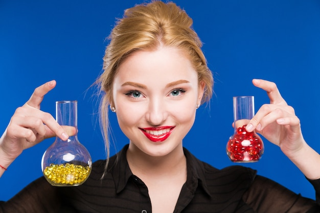 Girl with capsules