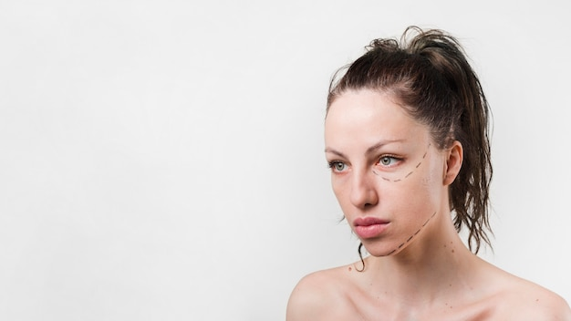 Girl with clean skin posing