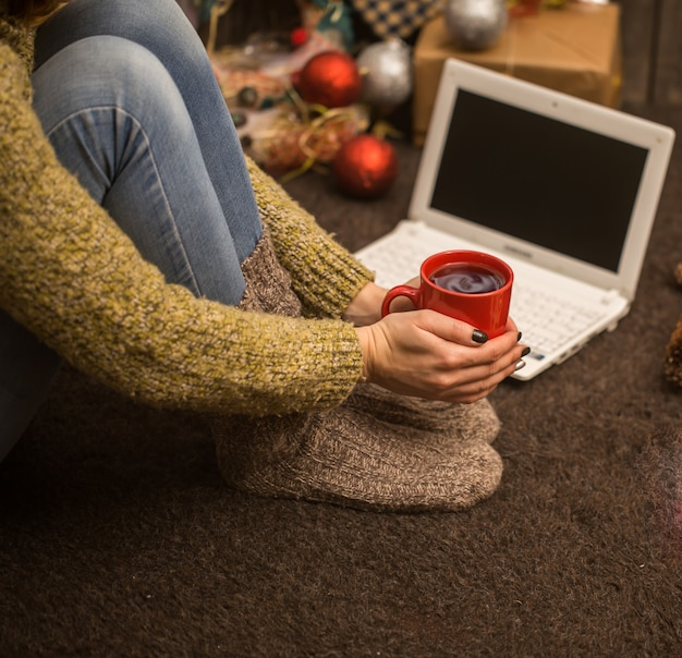 Girl with computer  christmas decor