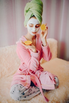 Girl with face mask