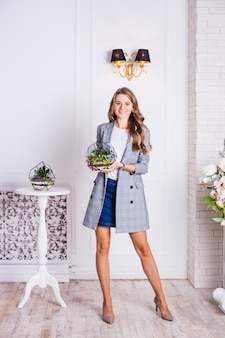 The girl with the florium-home decor and office