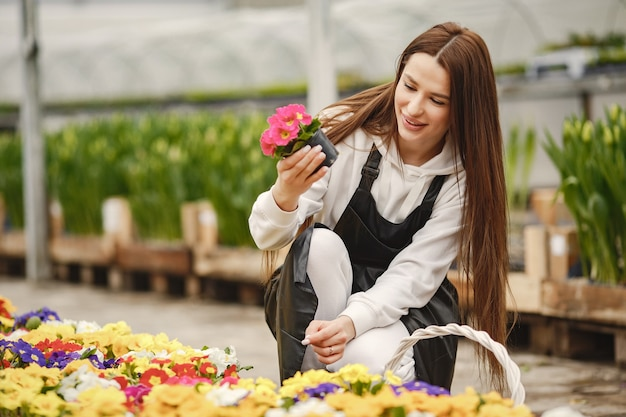Girl with flowers in a greenhouse. gardener in an apron. flower care.