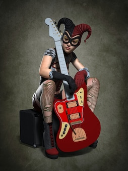 A girl with a guitar in a clown costume
