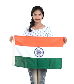 Girl with indian flag or tricolour, indian independence day, indian republic day