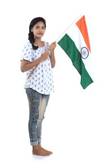 Girl with indian flag or tricolour on white space, indian independence day, indian republic day
