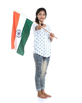Girl with indian flag or tricolour on white wall, indian independence day, indian republic day