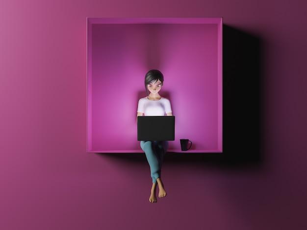 Девушка с ноутбуком освещает лицо стилизованный 3d персонаж