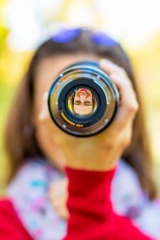 レンズ付きの女の子、レンズ付きの女の子、女の子の写真家