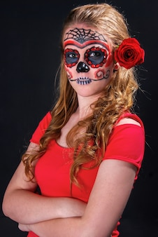 Girl with mexican skull makeup, halloween makeup