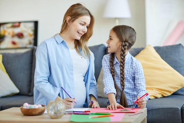 Девочка с мамой рисование