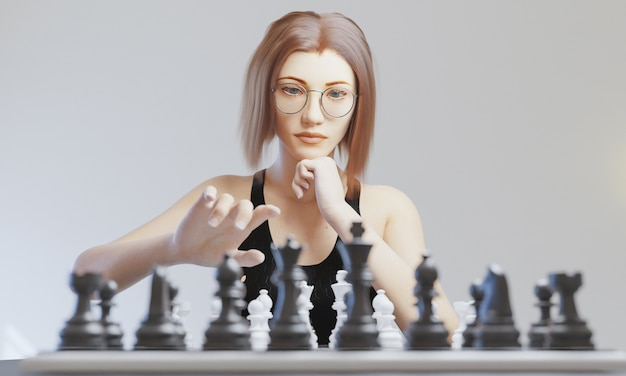 チェスをする丸いメガネの女の子