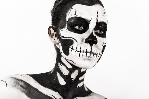 Girl with skeleton makeup