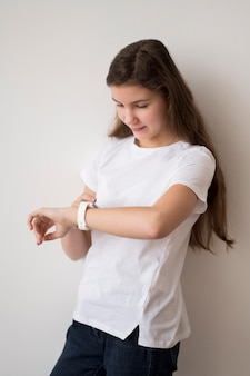 Girl with smartwatch