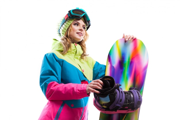 Girl with snowboard isolated