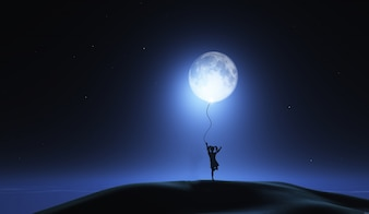 Girl with the moon as balloon
