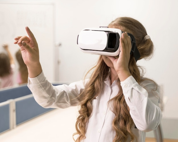 Girl with vr glaases at school