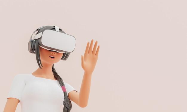 Девушка в очках vr и поднятой рукой стилизовала 3d-персонажа