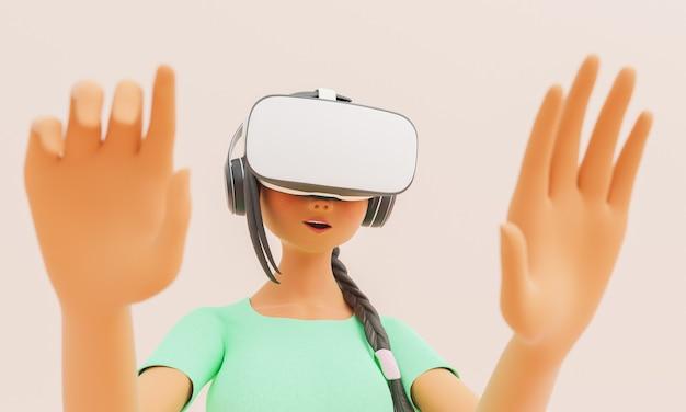 Девушка в очках vr впечатлила стилизованный 3d персонаж