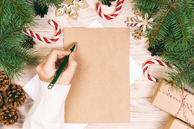 Girl writing a christmas letter background