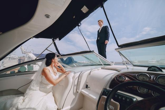 Girlfriend in area boat capitan