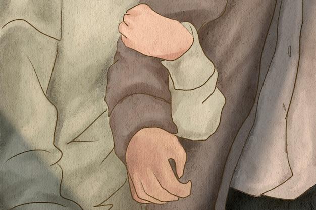 彼氏の腕を抱き締めるガールフレンドバレンタインのテーマ手描きイラスト 無料写真