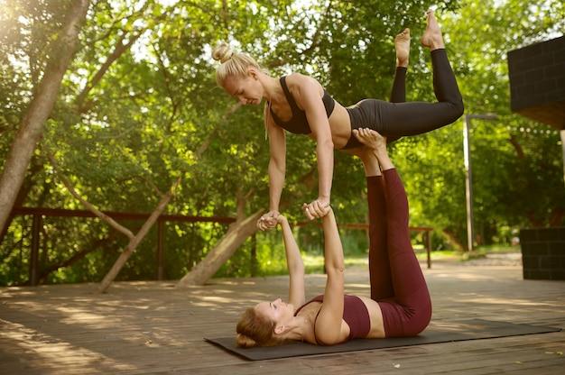 여름 공원에서 그룹 요가 훈련에 균형 운동을하는 여자 친구. 명상, 야외 운동에 맞는 수업