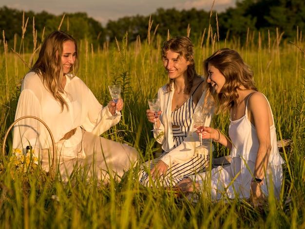 녹색 잔디 필드에서 피크닉에 샴페인을 마시는 여자 친구. 여자는 웃고 즐긴다