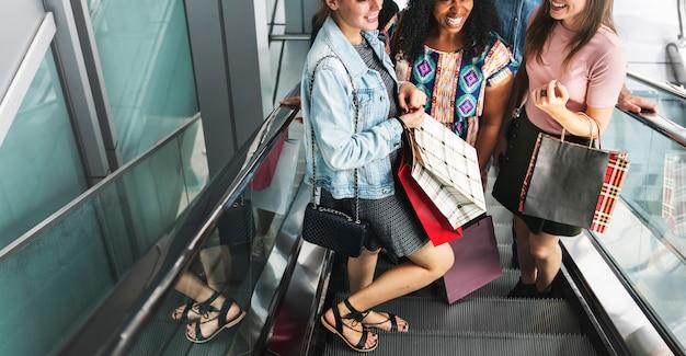 Girlfriends going shopping concept