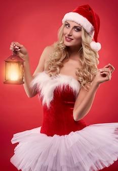 섹시한 산타에 소녀 드레스
