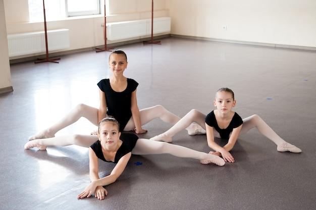 Девочки занимаются хореографией в балетном классе.