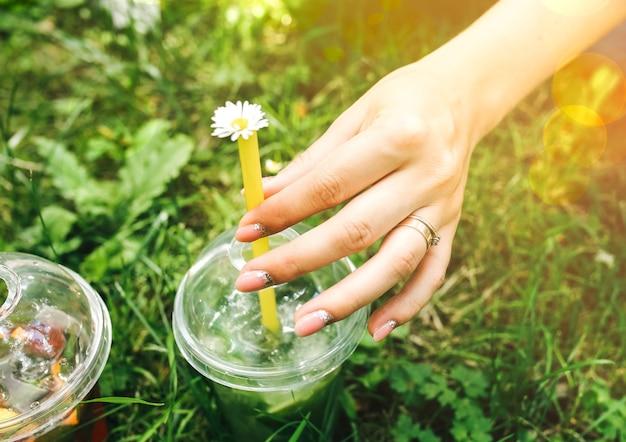 소녀들은 잔디에서 여름 칵테일을 손에 들고 있습니다. 얼음과 함께 차가운 무알코올 음료. 라임, 소다수, 민트를 곁들인 모히또와 딸기 레모네이드. 신선함과 휴일.