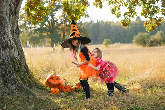 Girls are laughing merrily sitting on a broom under a oak tree trunk at sunset on halloween