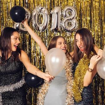 Girls celebrating new year