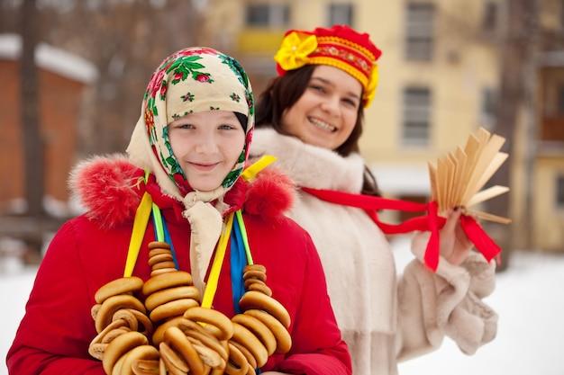 Girls celebrating  shrovetide