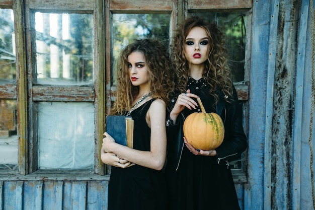 Girls disguised as witches with a pumpkin and black book