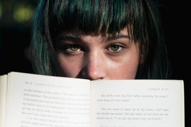 Girls face behind open book