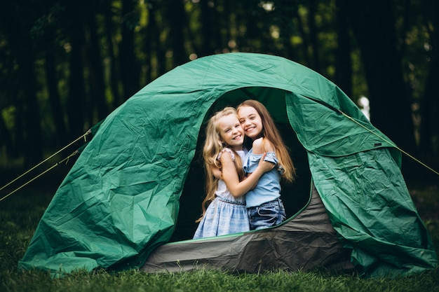 Girls friends in tent